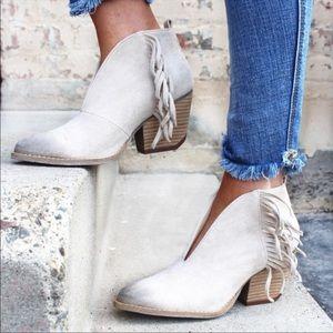 Distressed Cream Fringe V Cut Ankle Boot
